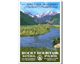 """Rocky Mountain (Moraine Park) National Park Poster, WPA style 13"""" x 19"""" Signed by the artist. FREE SHIPPING!"""