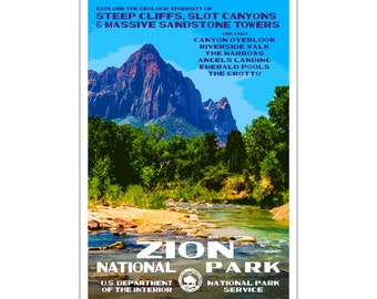 """Zion National Park WPA style poster. 13"""" x 19"""" Original artwork, signed by the artist. FREE SHIPPING!"""