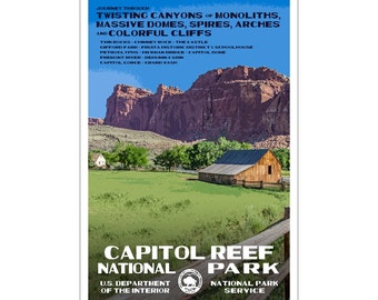 """Capitol Reef National Park WPA style poster. 13"""" x 19"""" Original artwork, signed by the artist. FREE SHIPPING!"""