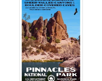 "Pinnacles National Park WPA-style poster. Color. 13"" x 19""  Original artwork, signed by the artist!"