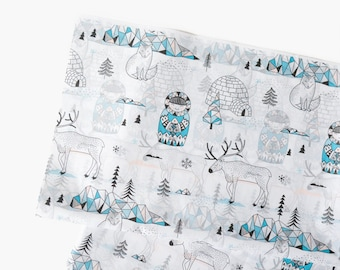 Arctic Life Tissue Paper, Cute Inuit Igloo Pattern Paper, Gift Wrapping Wrap Paper, Holiday Paper, Christmas Craft Supplies, Arctic Animals
