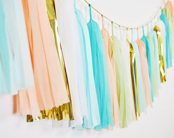 Peach Caribbean Tassel Garland, Peach Aqua Willow Gold, Baby Shower, Nursery Decor, Cake Smash, Wedding Bunting, First Birthday, Backdrop
