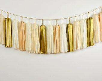 Golden Champagne Tissue Tassel Garland, Wedding Bunting, Nursery Decor, Baby Shower, Bridal Shower, Gold Backdrop, Neutral Bedroom Decor