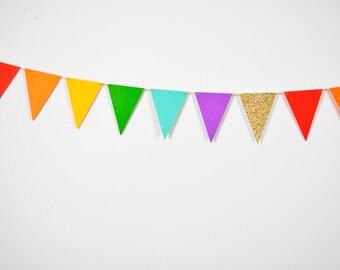 Rainbow Triangle Flag Banner, Rainbow Paper Banner, Rainbow Pennant Flag Banner, Rainbow Gold Party, Rainbow Birthday Party, Gay Wedding