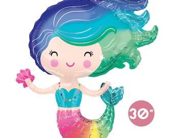 Colorful Mermaid Balloon | Rainbow Mermaid Balloon | Litter Mermaid Party | Under the Sea Party | Mermaid Birthday | Baby Shower