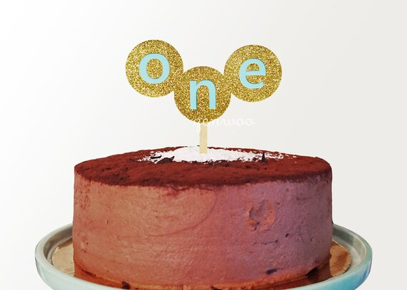 Glitter One Cake TopperGold And Blue First Birthday