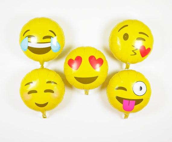18 Emoji Ballons Emoji Partei Dekor Emoji Geburtstag Etsy