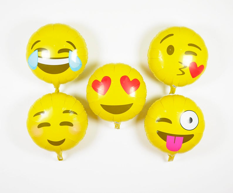 18 Emoji Balloons Party Decor Birthday