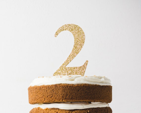 """2nd 2 Cake Topper Birthday Decorations Leave a Note For Other Numbers 4/"""" Height"""