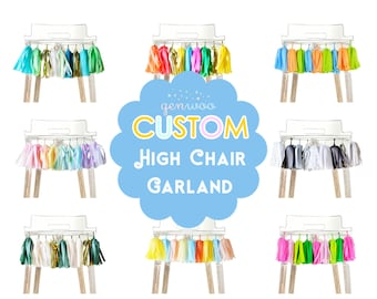 Custom High Chair Garland, First Birthday Cake Smash Photo Prop, Create Your Own, Design Your Own, Pick Your Colors, Custom Highchair Banner