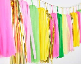Flamingo and Pineapple Tassel Garland, Tropical Party Banner, Flamingo Birthday, Pineapple Party Garland, Baby Shower, First Birthday Banner