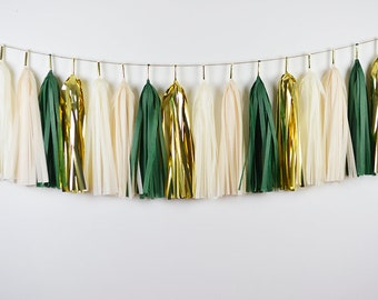 Eucalyptus Party Tassel Garland, Assembled, Green Gold Party, Botanical Wedding, Baby Shower, Bridal Shower, Birthday, Succulents Party,