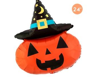 Witchy Pumpkin Foil Balloon 24-inch, Halloween Party Balloon, Halloween Decoration, Halloween Pumpkin Decoration, Halloween Spooky Decor