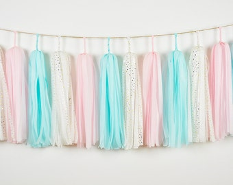 Baby Gender Reveal Tassel Garland, Pink Blue Garland, Gender Reveal Garland, Gender Reveal Party, Boy and Girl Twins Baby Shower