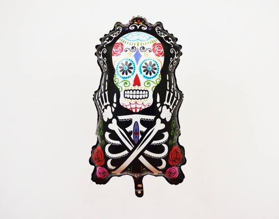 Black Skeleton Halloween Balloon Rose And Skull Halloween Etsy