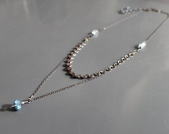 Layered London Blue Topaz Oxidized Sterling Silver Necklace, Sequin Chain Tiny Pendant,Aquamarine Coin Disc Two Multi Strand,Delicate,Dainty