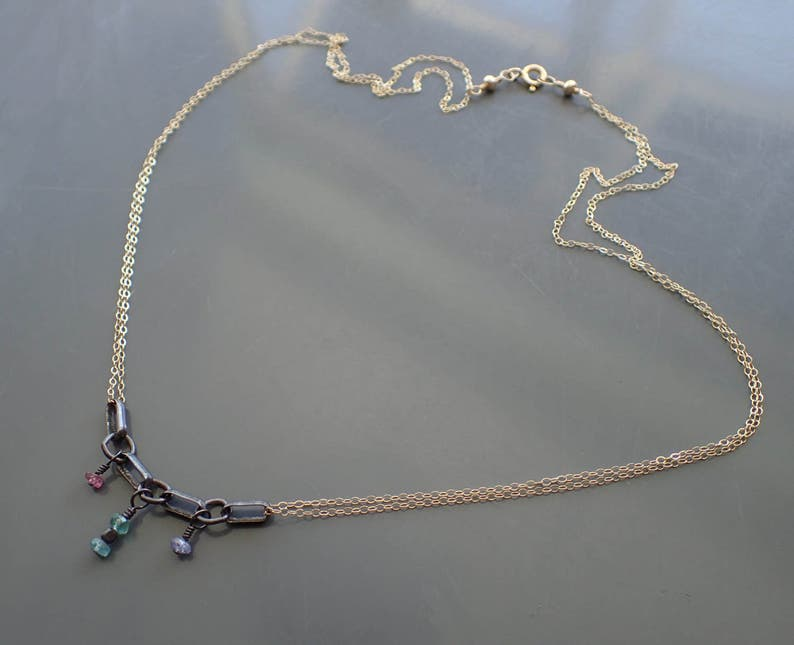 Mixed Metal Multi Strand Necklace,Emerald Tanzanite Oxidized Sterling Silver Choker,Apatite 14kt Gold Fill,Rainbow,Delicate,Dainty,Two Tone