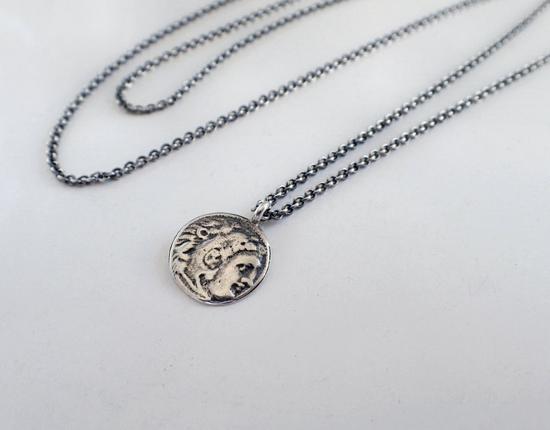 Sterling Silver Multi Roman Coin Charms Necklace 24