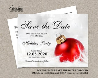 4ee9eb4b67c0 Christmas Party Invitation Save The Date, DIY Printable Corporate Holiday  Party Invitations Save The Dates, Personalized Christmas invites
