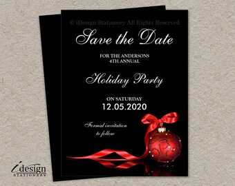 a491911299c5 Elegant Christmas Party Save The Date Cards, DIY Printable Corporate Holiday  Party Invitation Save The Dates With A Red Ornament And Ribbon