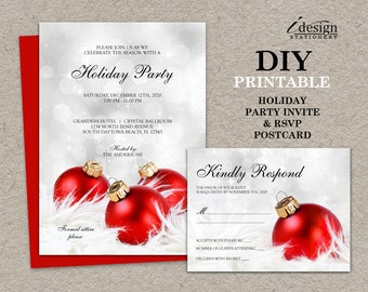 elegant christmas invitations with rsvp cards diy printable etsy