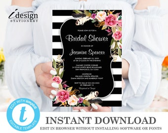 Bridal Shower Invitation Instant Download Etsy