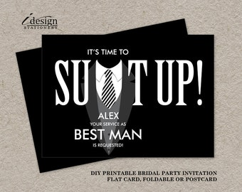 Printable groomsman proposal card suit up black tuxedo etsy printable best man proposal card suit up will you be my best man bridal party request cards black tuxedo wedding attendants invitation stopboris Choice Image