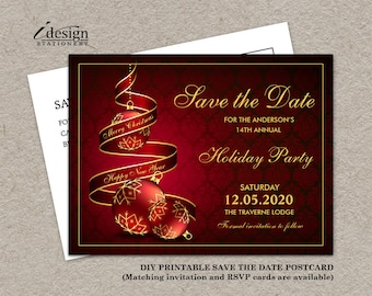 christmas party save the date card elegant printable holiday etsy