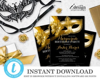 Masquerade 50th Birthday Invitation