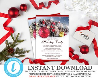 holiday party invitations instant download elegant christmas etsy