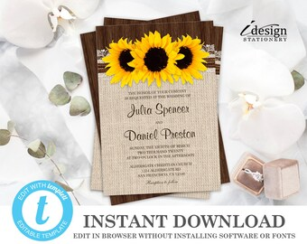 sunflower wedding invitation etsy