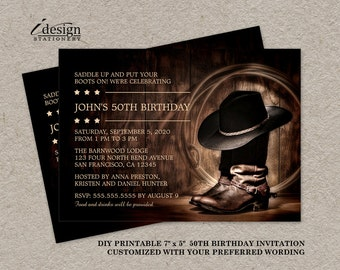 country western 50th birthday party invitation template etsy