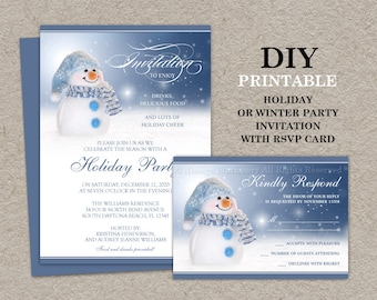 christmas invitations with rsvp cards printable holiday etsy