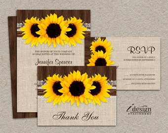 Items similar to DIY Printable Rustic Wedding Invitation Sets ...