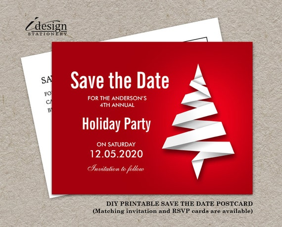personalized christmas party save the date card diy printable etsy