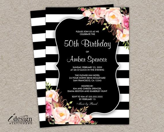 Elegant floral 50th birthday party invitation l diy printable etsy image 0 filmwisefo