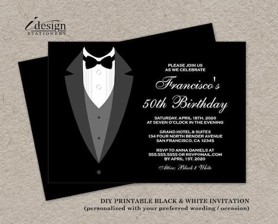 Black And White Birthday Invitation With Tuxedo Printable