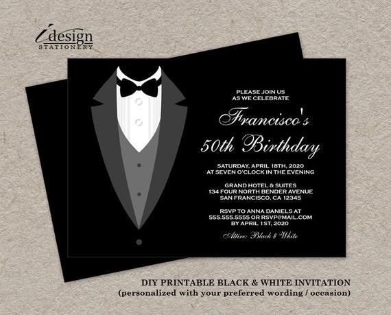 black and white birthday invitation with tuxedo printable etsy