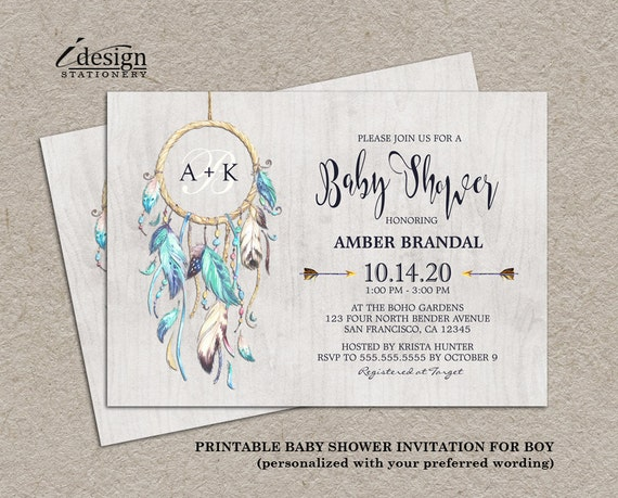 Boho Dreamcatcher Baby Shower Invitation For Boy Printable Etsy Magnificent Dream Catcher Baby Shower Invitations