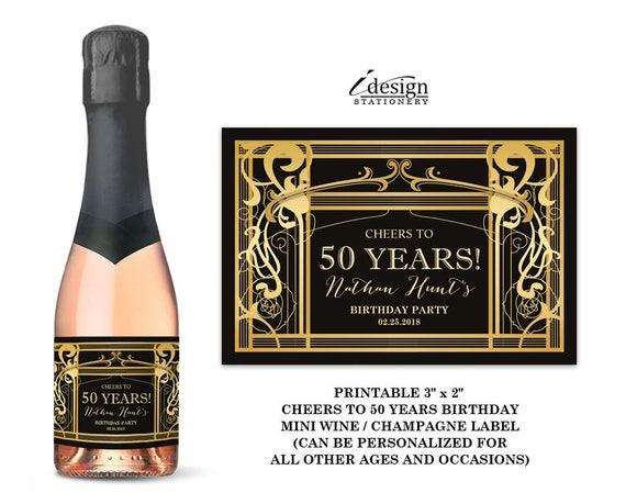 Große Gatsby Cheers bis 50 Jahre Geburtstag Mini Wein oder | Etsy