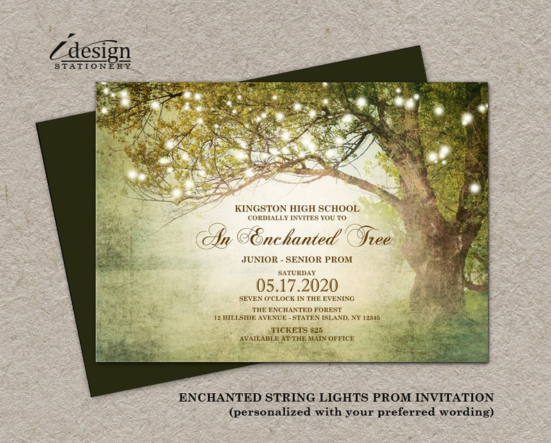 9c37f518669 Enchanted Prom Invitation With String Lights Printable