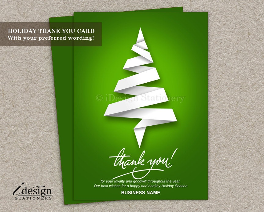 Business Thank You Christmas Cards With Logo Personalized | Etsy