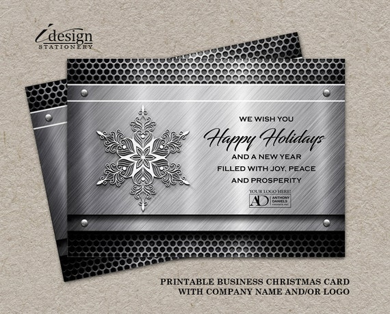 Items similar to metal business holiday cards with logo printable items similar to metal business holiday cards with logo printable construction steel fabricator automotive or welding christmas greetings card template reheart Images
