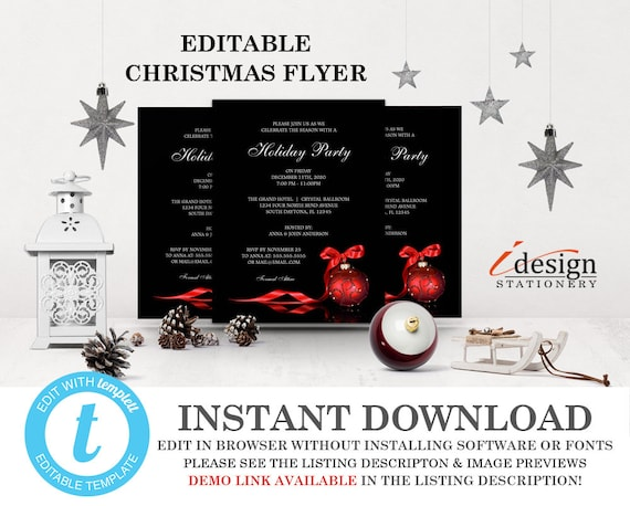 Christmas Party Flyer Template Printable Holiday Party Flyer Etsy