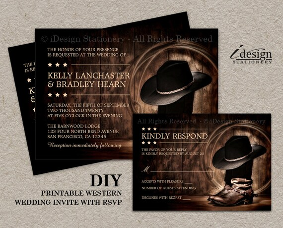 Country Western Wedding Invitation Set With Cowboy Boots Diy Etsy