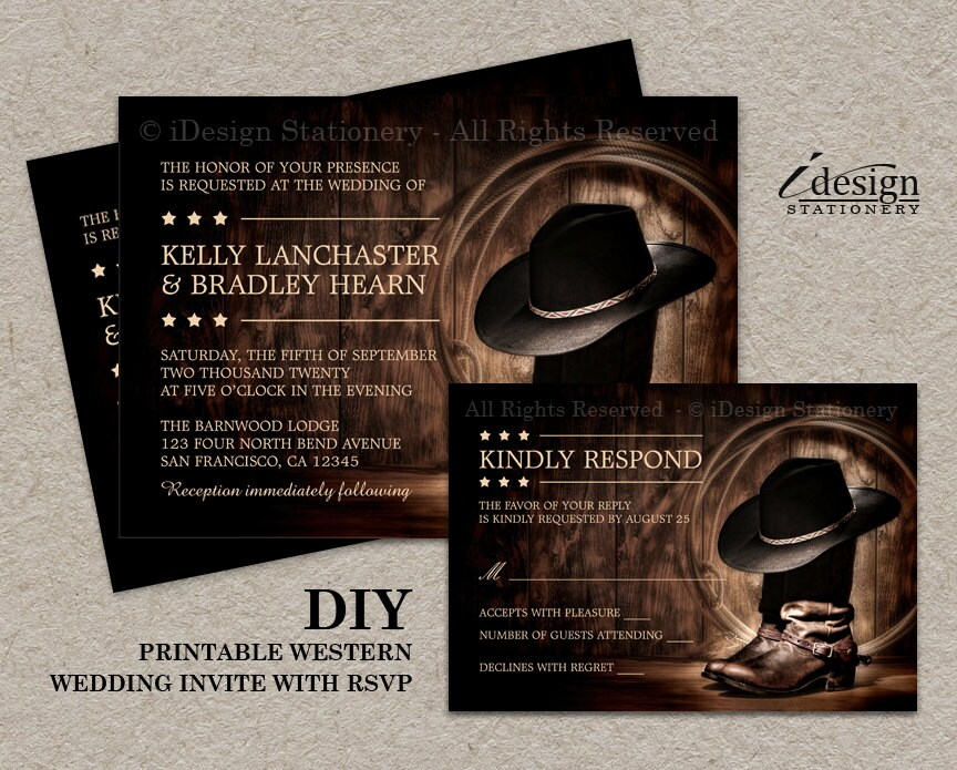 Boots Wedding Invitations: Country Western Wedding Invitation Set With Cowboy Boots DIY