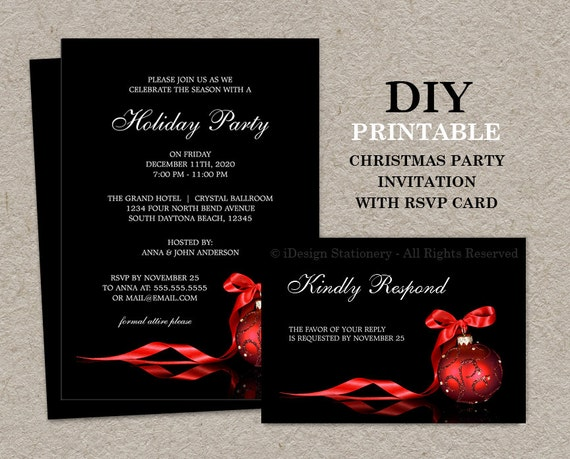 Christmas invitations with rsvp cards printable holiday etsy image 0 m4hsunfo