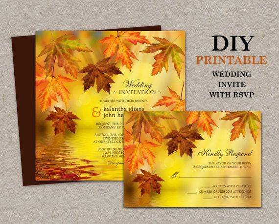Homemade Fall Wedding Invitations: DIY Printable Fall Wedding Invitations With RSVP Fall