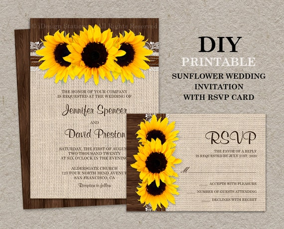 Rustic Wedding Invitation Sets: Rustic Country Sunflower Wedding Invitation Sets DIY
