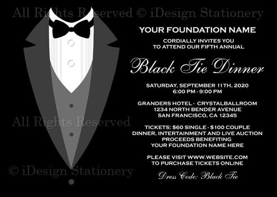 black tie dinner fundraising invitations printable tuxedo etsy